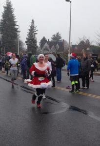 Maryalicia finishes the Portland Holiday Half Marathon as Mrs Claus
