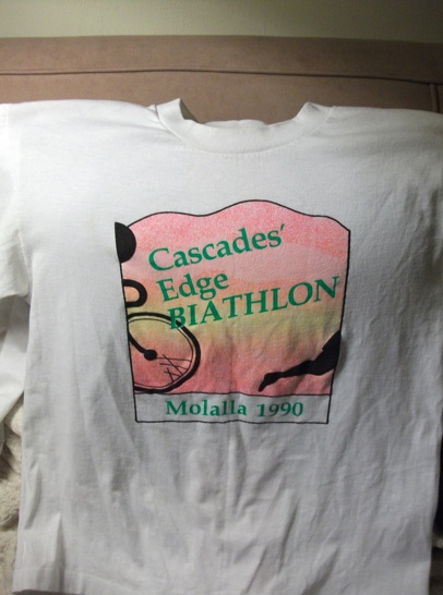 Joe's shirt from the 1990 Cascades Edge Biathlon, in Molalla