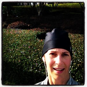 Amy's selfie on Christmas Day, run and done, nothing but sun and smiles.
