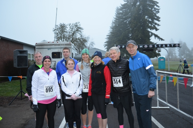 Team Karen preparing to run Cascade Half Marathon and 10K