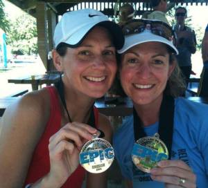 """Amy anchored the team during the Epic Relay in 2012, finishing strong in Alton Baker Park.  Says Amy """"It was an honor to bring it home, running along part of the Steve Prefontaine Memorial Jogging trail.""""  Photo Credit: Mark Little"""
