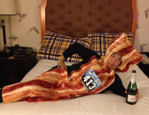 Bacon enjoying champagne.  Photo: Mel Ortiz