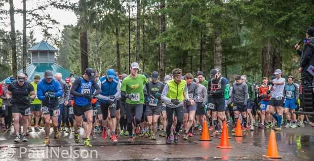 The start of the 2014 ORRC Hagg Mud 25k. The eventual winner, Dave Harkin, is at the left in black hat and blue PRC Race Team singlet. Credit: Paul Nelson Photography
