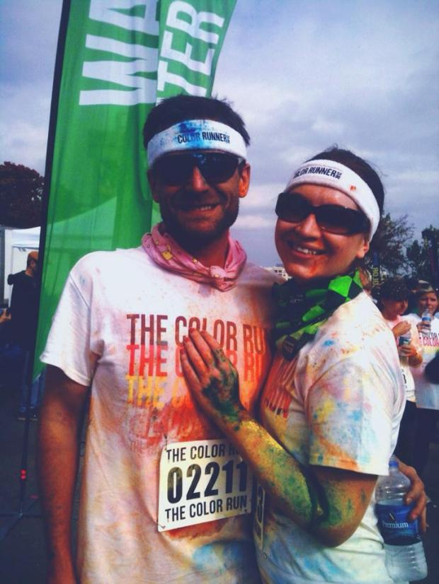 Future Husband and I at the finish line of the 2012 Color Run.