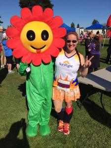 Maryalicia and the famous Blossom at the Blooms to RBews 10K
