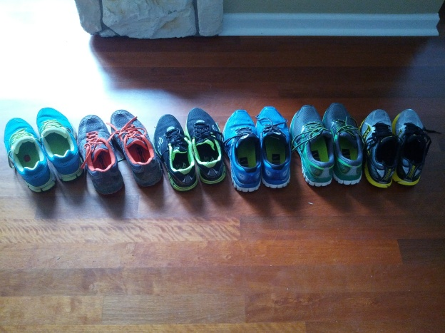 A selection of my running shoes over the past three years