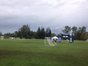 The start and finish line on the soggy pitch.
