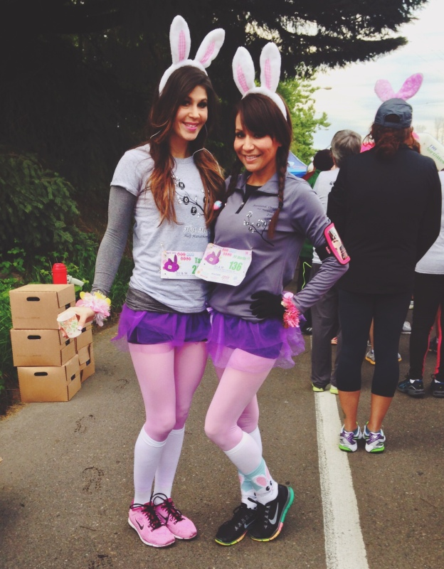 Two ladies pose before the start of the 2nd Annual Hop Hop 5k in Portland, Ore.