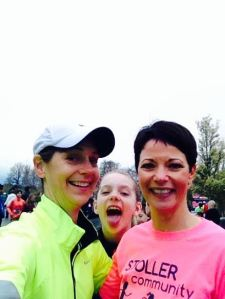This is me (Kaylee) photo bombing a selfie of my Mom and race director Elisa Bennett!