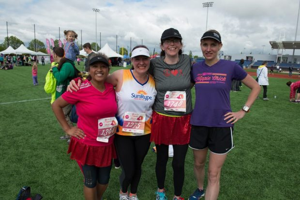 Angie, Maryalicia, Robin, and Mariah get ready for the Hippie Chick Half Marathon
