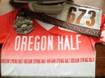 My bib, tech shirt and finisher medal from the Oregon Spring Half 5/3/2014