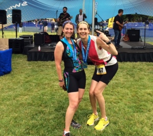 Amy Little and her Best Running Friend Cyndie Pelto at the end of the Blue Lake Sprint Triathlon.  Photo courtesy of Colleen Cleary.
